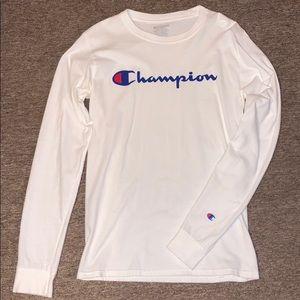 Champion Shirts - White Champion Long Sleeve LS SMALL